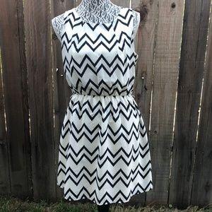Pink Owl Chevron Black & White Dress Size L
